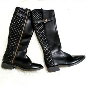 Zara | Black Quilted Riding Boots With Heel